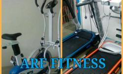 Two Blue And Orange Treadmill And 2-in-1 Cardio Dual