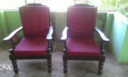 Two Brown Wooden Framed Red Fabric Padded Armchairs