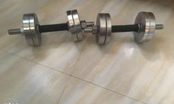Two Chrome Pro Dumbbells Weight 40kg Two rods with grip