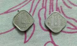 two coins of Indian one paise one is1967and1968