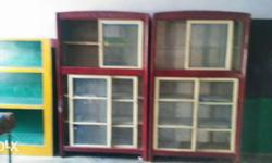 Two Maroon-and-beige Wooden Display Cabinet