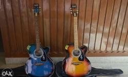Two New Blue And Brown semi electrical Acoustic Guitars