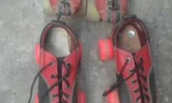 Two Red-and-black Leather Roller Skates 6 size 8 size