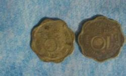 Two Scalloped Edge Silver 10 Indian Paise Coins