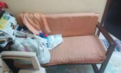 Two seater wooden sofa with washable covers