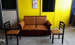 two seater wooden sofa with one plus one wooden stool