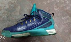 Unpaired Green And Blue Basketball Shoe