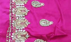 Unstitched lahenga in rani color... dupatta is attached