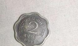 Very rare Indian old 2 paisa coin.