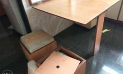 Wall fit dinning table and 2 kufis with storage in
