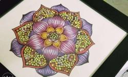 "water colour mandala painting with frame 10"" by 10""."