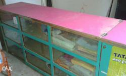 Well furnished wooden show case for shop use with 0%