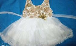 white and golden baby girl dress suitable for 3 to 10