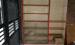 White And Red Wooden Cubby Shelf