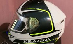 White, Black And Yellow Kranos Full Face Crash Helmet