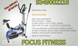 White Blue And Black Focus Fitness Elliptical Trainer