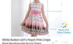 White Button Girl's Peach Pink Crepe Frock Dress
