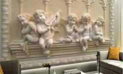 White Cherub Embossed Wall Art 99513.15576