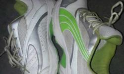 White Green And Gray Athlete Shoes