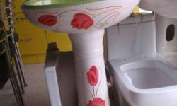 White, Red, And Green Floral Ceramic Pedestal Sink