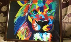 White,red,black,orange,blue,green, And Yellow Lion Head