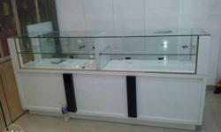 White Wooden Frame Clear Glass Counter Top