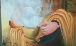 Woman Holding Mug Painting