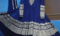 Women's Blue And Golden Long Sleeve lenga suit