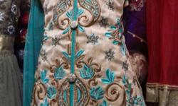 Women's Brown And Teal Kameez