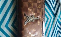 Women's Brown Eiffel Tower Stud Leather Pouch