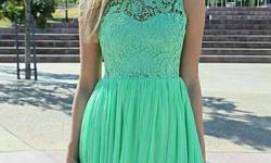 Women's Green Lace Scoop Neck Sleeveless Mini Dress
