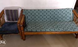 Wooden sofa (3+1+1). Need to change the cushion