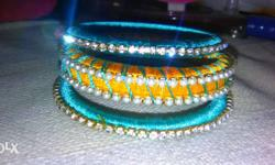 Yellow And Blue Thread Bangles