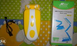 Yellow And White Foldable And Chargeable Desk Lamp With