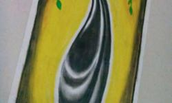 Yellow, Green And Black Vase Painting